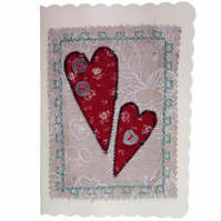 Sparkle Button & Red Hearts, Fabric Appliqué Cream Blank Greetings Card