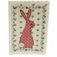 Pink Dotty Hare, Fabric Appliqué Cream Blank Greetings Card