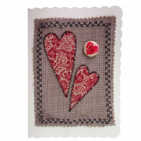 Red Hearts & Button, Fabric Appliqué Cream Blank Greetings Card