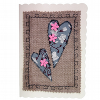 Pink Button & Grey Heart, Fabric Appliqué Cream Blank Greetings Card