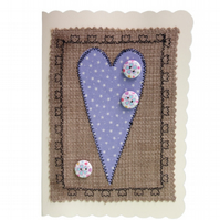 Button & Lilac Heart, Fabric Appliqué Cream Blank Greetings Card