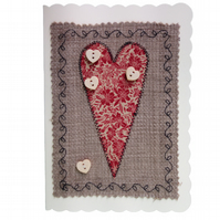 Button & Red Floral Heart, Fabric Appliqué Cream Blank Greetings Card
