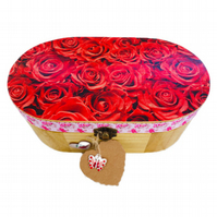Decoupaged Wooden Jewellery Trinket Box, Red Rose design