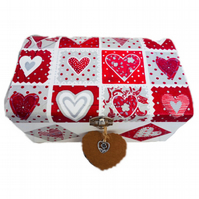 Decoupaged Wooden Jewellery Trinket Box, Patchwork Hearts design