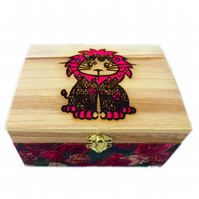 Engraved & Decoupaged Wooden Jewellery Trinket Box, Lion design