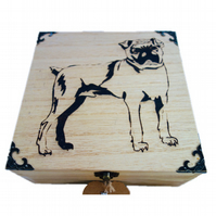 CLEARANCE: 20cm Engraved Wooden Trinket Box, Pug