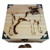 CLEARANCE: 16cm Engraved Wooden Trinket Box, Pug