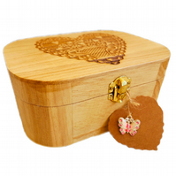 Engraved Wooden Trinket multi-use Box, Heart design
