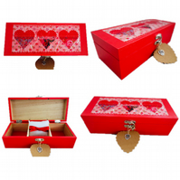Red Hearts (design 2) Decoupaged Wooden Jewellery Trinket multi-use Box