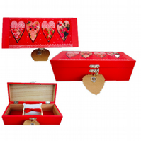 Red Hearts (design 3) Decoupaged Wooden Jewellery Trinket multi-use Box