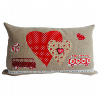Red Camper Van Appliqué Scatter Cushion, Throw Pillow with inner pad