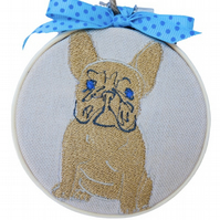 French Bulldog, Embroidered Hoop Wall Hanging Decoration