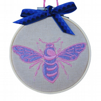 Embroidered Hoop, Purple & Pink Bee, Wall Hanging Decoration