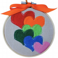 Hearts, Embroidered Hoop Wall Hanging Decoration