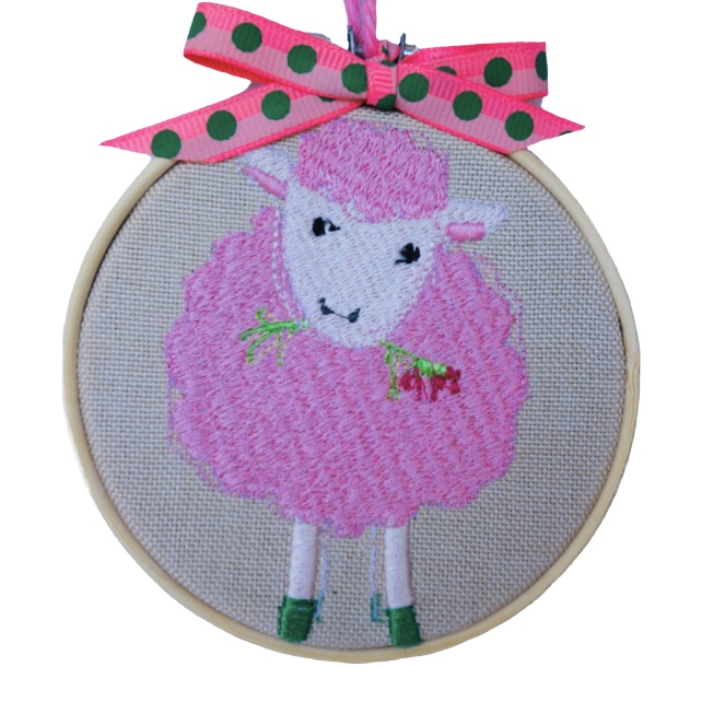 Sheep, Embroidered Hoop Wall Hanging Decoration
