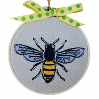 Bee, Embroidered Hoop Wall Hanging Decoration