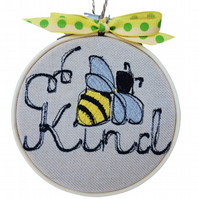 Embroidered Hoop, Bee Kind, Wall Hanging Decoration