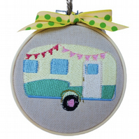Retro Caravan, Embroidered Hoop Wall Hanging Decoration