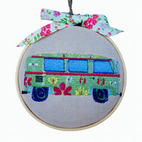 Camper Van, Embroidered Hoop Wall Hanging Decoration
