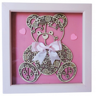 Teddy Bear, Box Frame Picture Wall Hanging, Pink