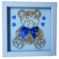 Blue Teddy Bear, Box Frame Picture Wall Hanging