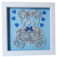 Teddy Bear, Box Frame Picture Wall Hanging, Blue