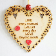 Message Wooden Hanging Heart - Live, Laugh, Love