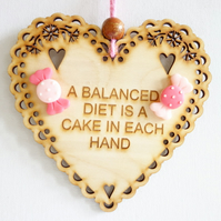 Message Wooden Hanging Heart - Balanced Diet