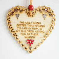 Message Wooden Hanging Heart - Mum
