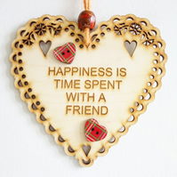 Message Wooden Hanging Heart - Happiness