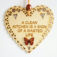 Message Wooden Hanging Heart - Clean Kitchen