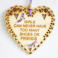Message Wooden Hanging Heart - Shoes & Friends