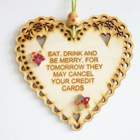 Message Wooden Hanging Heart - Be Merry