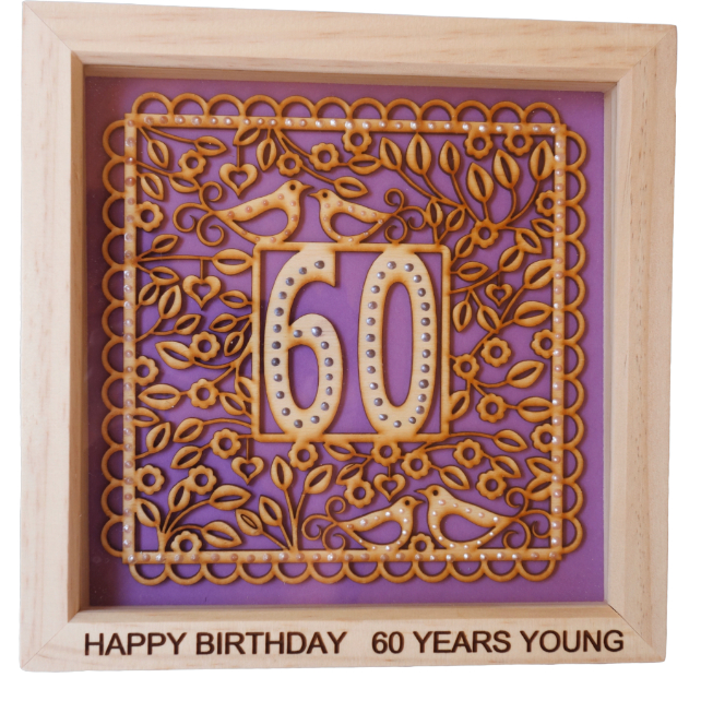 60th Birthday, Box Frame Picture Wall Hanging