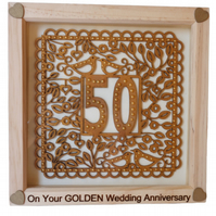 Golden Wedding, Box Frame Picture Wall Hanging