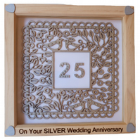 Silver Wedding, Box Frame Picture Wall Hanging