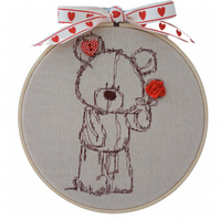 Embroidered Hoop, Teddy Bear with Rose, Wall Hanging Decoration