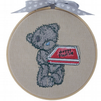 Embroidered Hoop, Teddy Bear with Cake, Wall Hanging Decoration