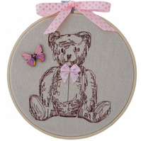 Embroidered Hoop, Teddy Bear with Pink Bow, Wall Hanging Decoration