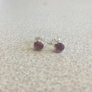 Birthstone Studs, October, Genuine Pink tourmaline 5mm round, hand faceted