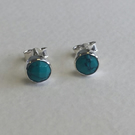 Birthstone Studs, December, Genuine Turquoise 5mm Round, Hand Faceted