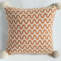 Knitted cushion - oatmeal and tan felted wave design