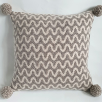 Knitted cushion - mushroom and oatmeal  felted wave design