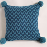 Knitted cushion - blues felted wave design