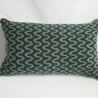 Knitted cushion - Green and mushroom felted wave design