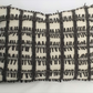 Knitted cushion - Cream and brown felted cut check design