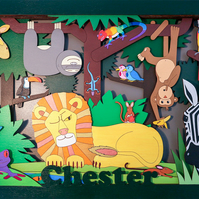 Jungle Animals, 3d Wall Art, Personalised Gift, Hand Painted, Wooden Picture.
