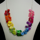 Rainbow Button Cluster Necklace