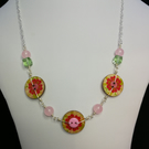 Pretty pink and green floral button necklace with earrings with rose quartz