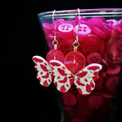 Pink butterfly button earrings, sterling silver wires